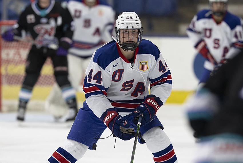 Marek Hejduk (pictured) is playing in Michigan with the NTDP's Under-17 team this year, separate from his twin brother David, who remains in Colorado playing with the Thunderbirds. Photo courtesy of Rena Laverty/USA Hockey's NTDP