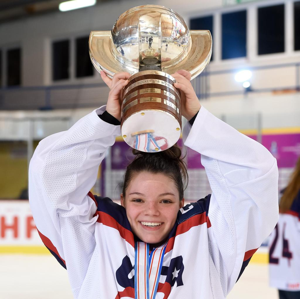 Barnes raises the IIHF Under-18 Women's World Championship trophy