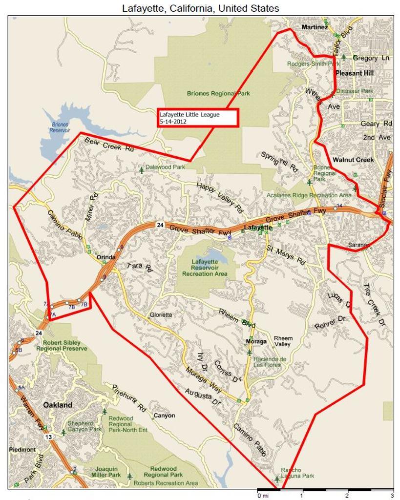Lafayette, California Map