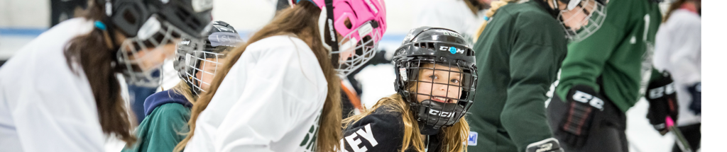 Girls at a Learn to Play Hockey Clinic