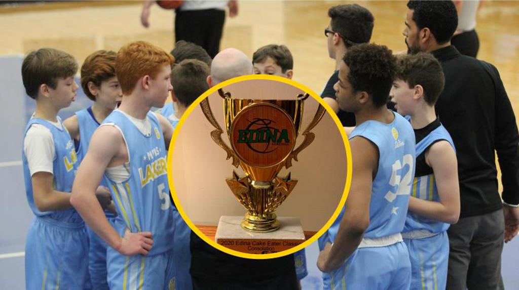 Mpls Lakers Youth Traveling Basketball Program Inc Boys 7th Grade Gold in a team huddle during a time out at Edina Cake Eater Classic tournament in Edina, MN