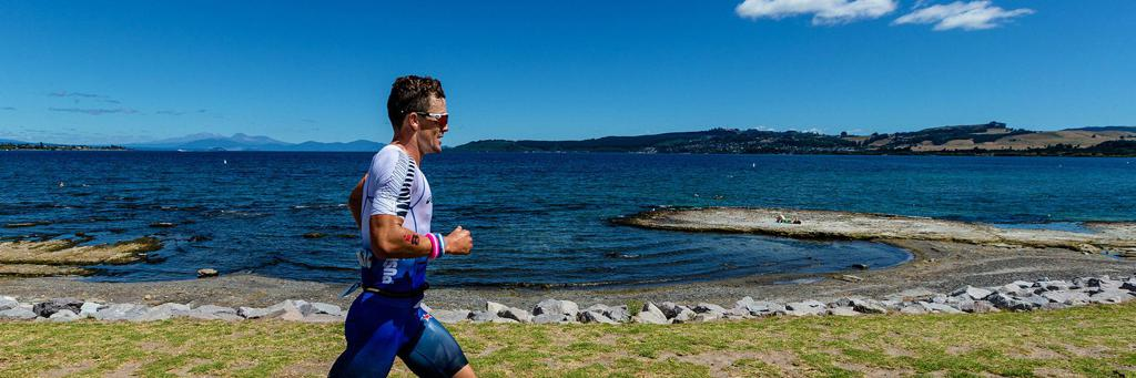 Runner participating in IRONMAN 70.3 Taupo