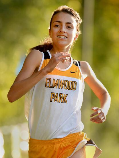 Elmwood Park's Diana Mazurok runs to second place.