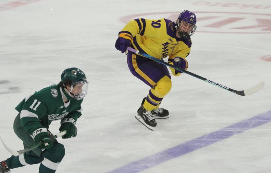 After leaving Lakewood, Colorado for California at age 10, Shane McMahan didn't touch the ice competitively again until high school. Instead, he honed his skills playing street hockey. Photo courtesy of Minnesota State Athletics