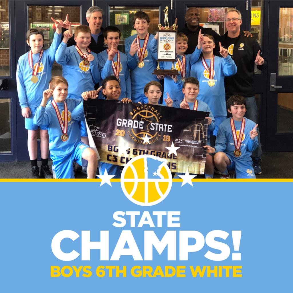 Minneapolis Lakers Boys 6th Grade White pose with their Medals & team trophy after becoming the Champions at the MYAS Grade State year end tournament