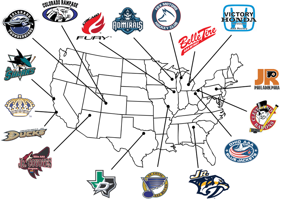 T1EHL organizations are based throughout the country. The 2020-21 season is scheduled to start in October. Courtesy of the Tier 1 Elite Hockey League