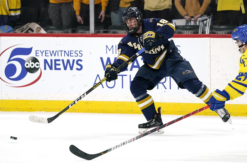 Senior defenseman Joey Pierce (pictured), a Mr. Hockey candidate, is likely to be key should Hermantown beat Duluth East on Tuesday and stay undefeated. Photo by Leila Navidi, Star Tribune