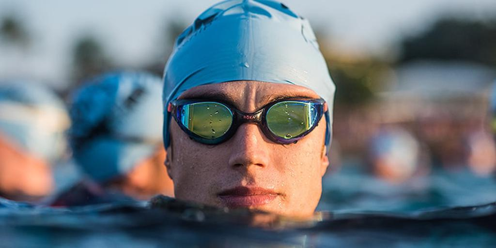 Close up of triathlete wearing googles