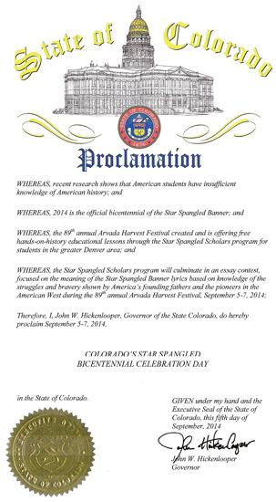 Proclamation from Governor John W. Hickenlooper