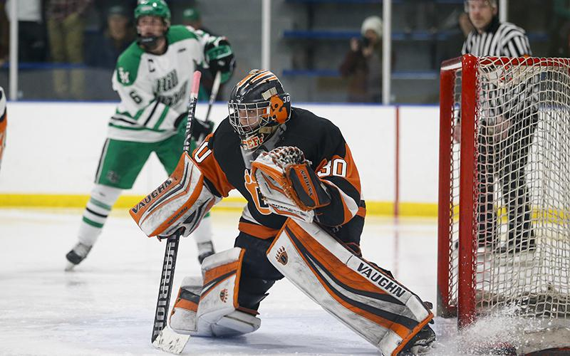 White Bear Lake goaltender Tyler Steffens looks to help steady the Bears as they face one of the state's best sharpshooters in Cretin-Derham Hall's Matthew Gleason on Tuesday. Photo by Jeff Lawler, SportsEngine