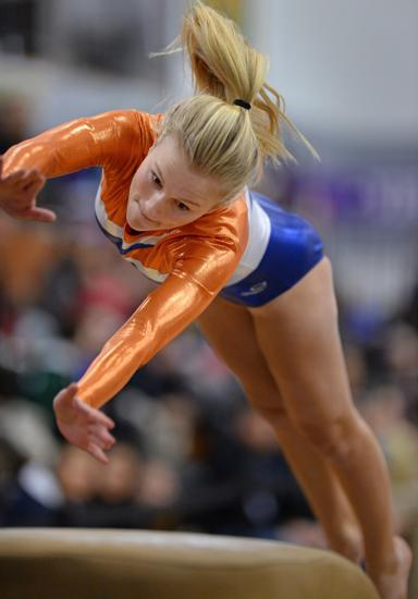 Evanston's Clara Gruger competes on the vault