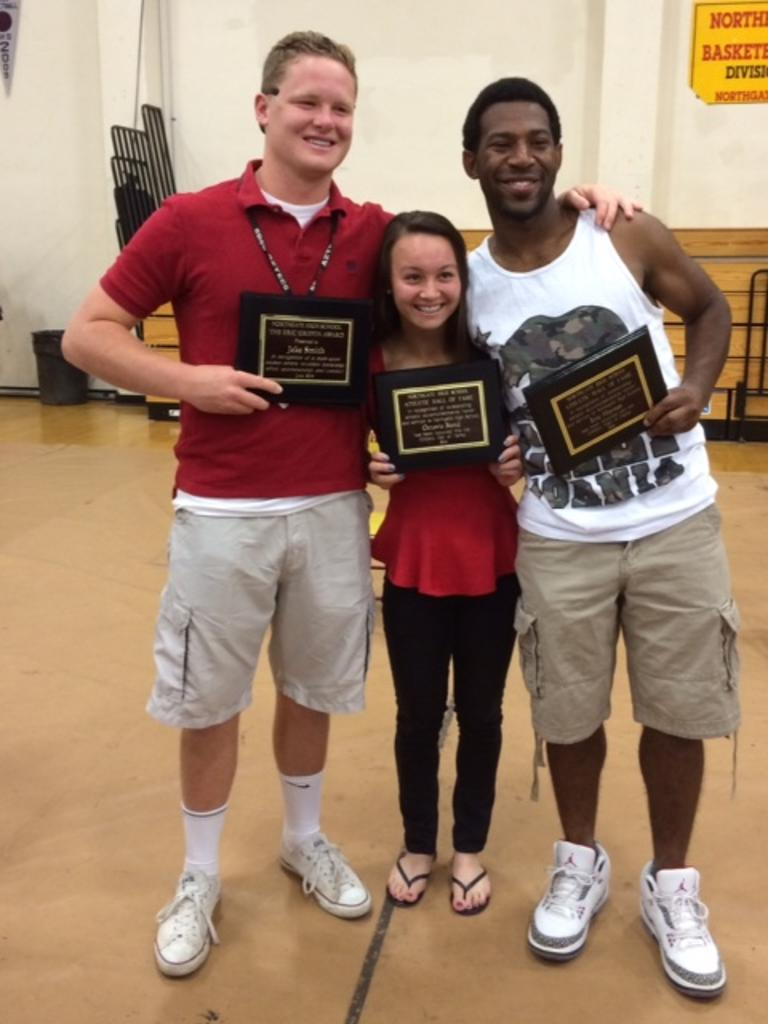 Octavia Bond & Eric Haynes Hall of Game Inductees with Jake Smith, Griffin and Bronco Booster Scholarship recipient