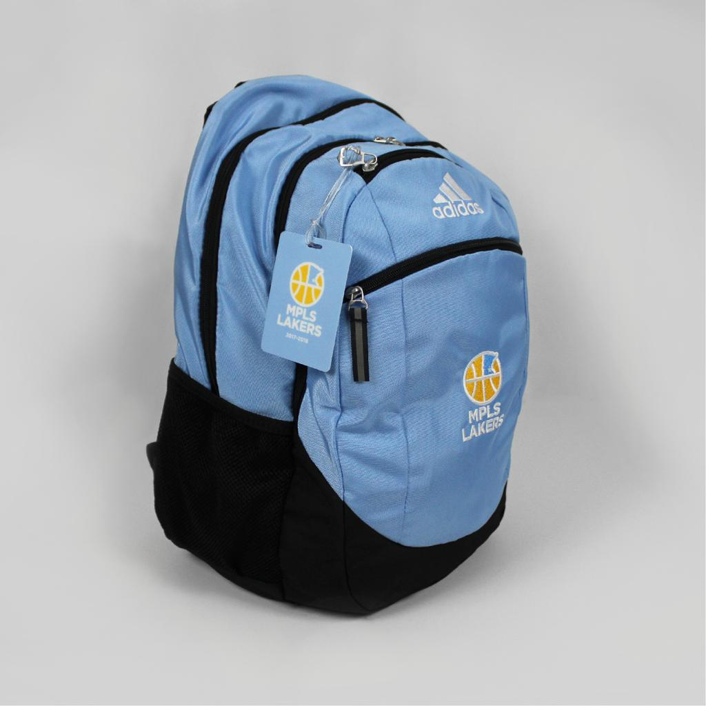 Mpls Lakers backpack for players, features an embroidered logo - Side View