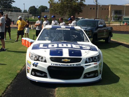 Lowes 48 car in end zone at practice on 8/20/14