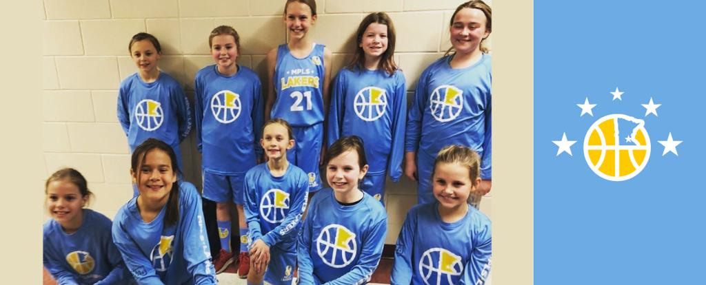 Minneapolis Lakers Girls 5th Grade Blue pose after earning 3rd place at the Eagan Run N Gun Classic tournament in Eagan, MN