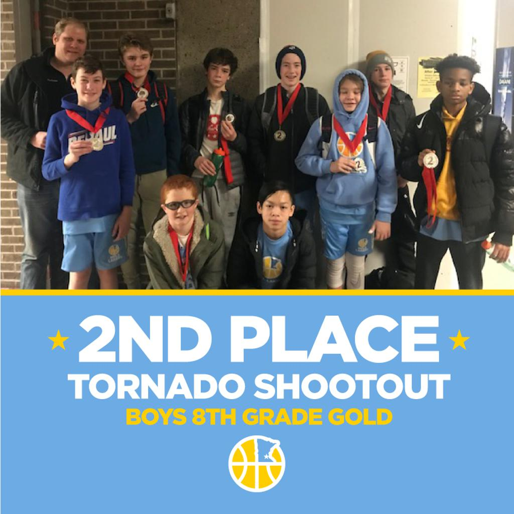 Minneapolis Lakers Boys 8th Grade Gold pose with their second place medals at the Anoka Ramsey Tornado Shootout in Anoka, MN