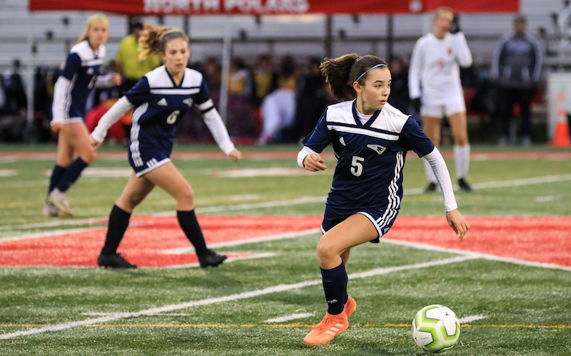 Champlin Park midfielder Paige Kalal was the lone freshman to be named to the 2019 Class 2A girls' all-state first team. Kalal finished the regular season with 14 goals. Photo by Cheryl A. Myers, SportsEngine