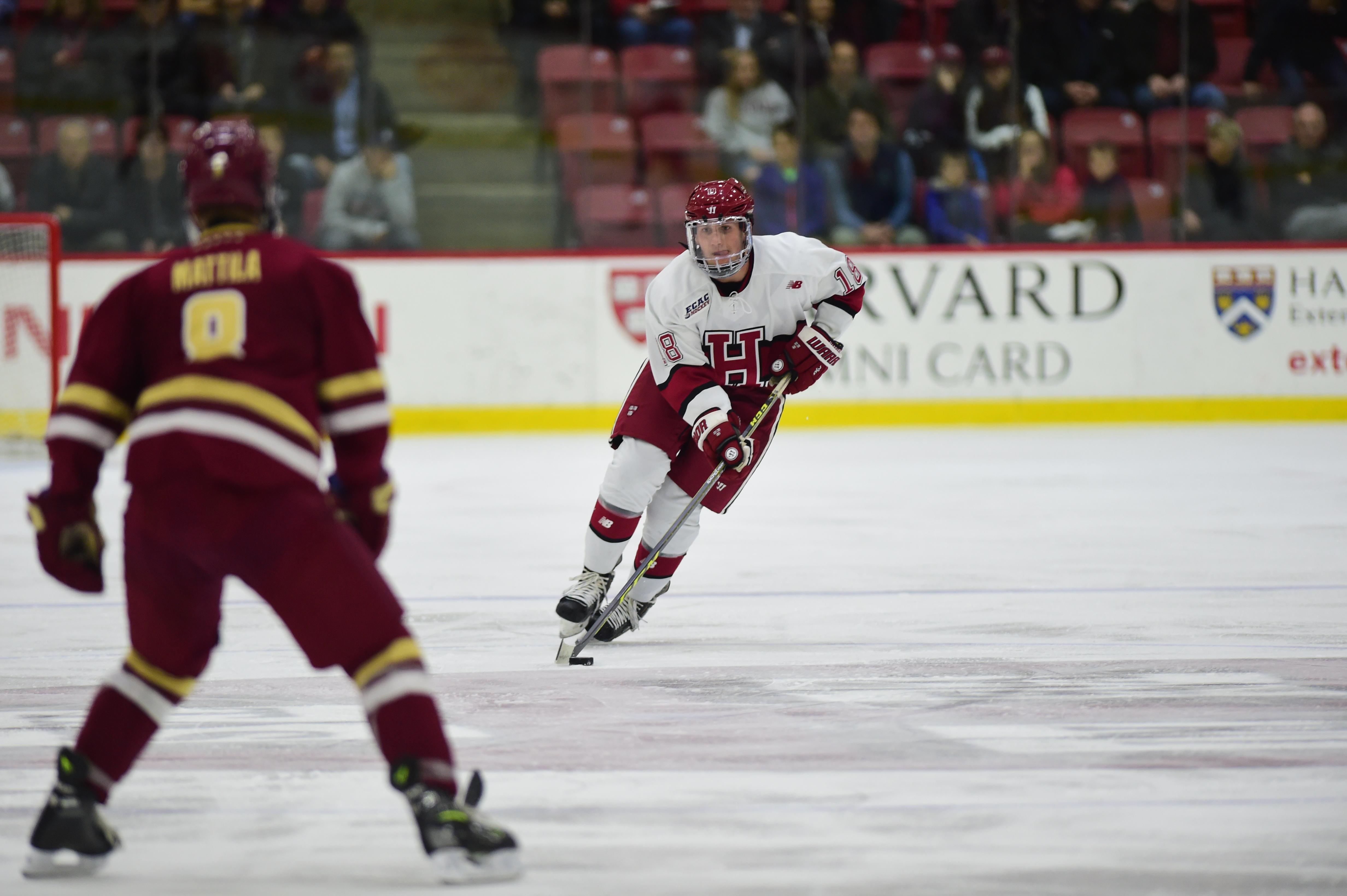 Adam Fox with Harvard University (photo courtesy of Harvard University Athletic Department)