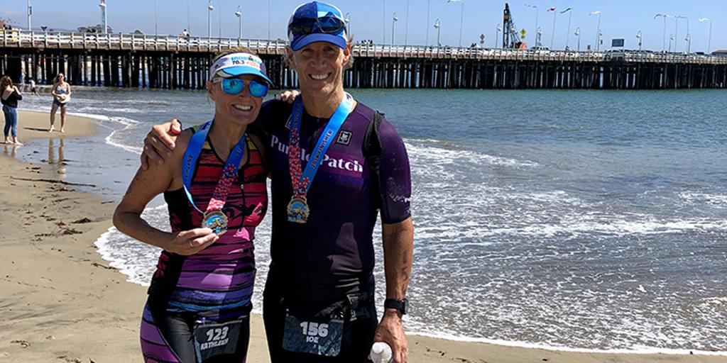 Professional triathletes Jeanni Seymour and partner Justin Metzler post-race