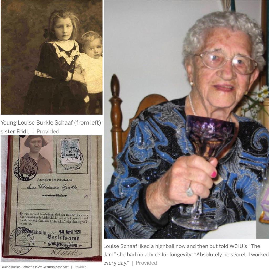3 pictures of Louise Schaffer as child, passport photo and photo with a glass