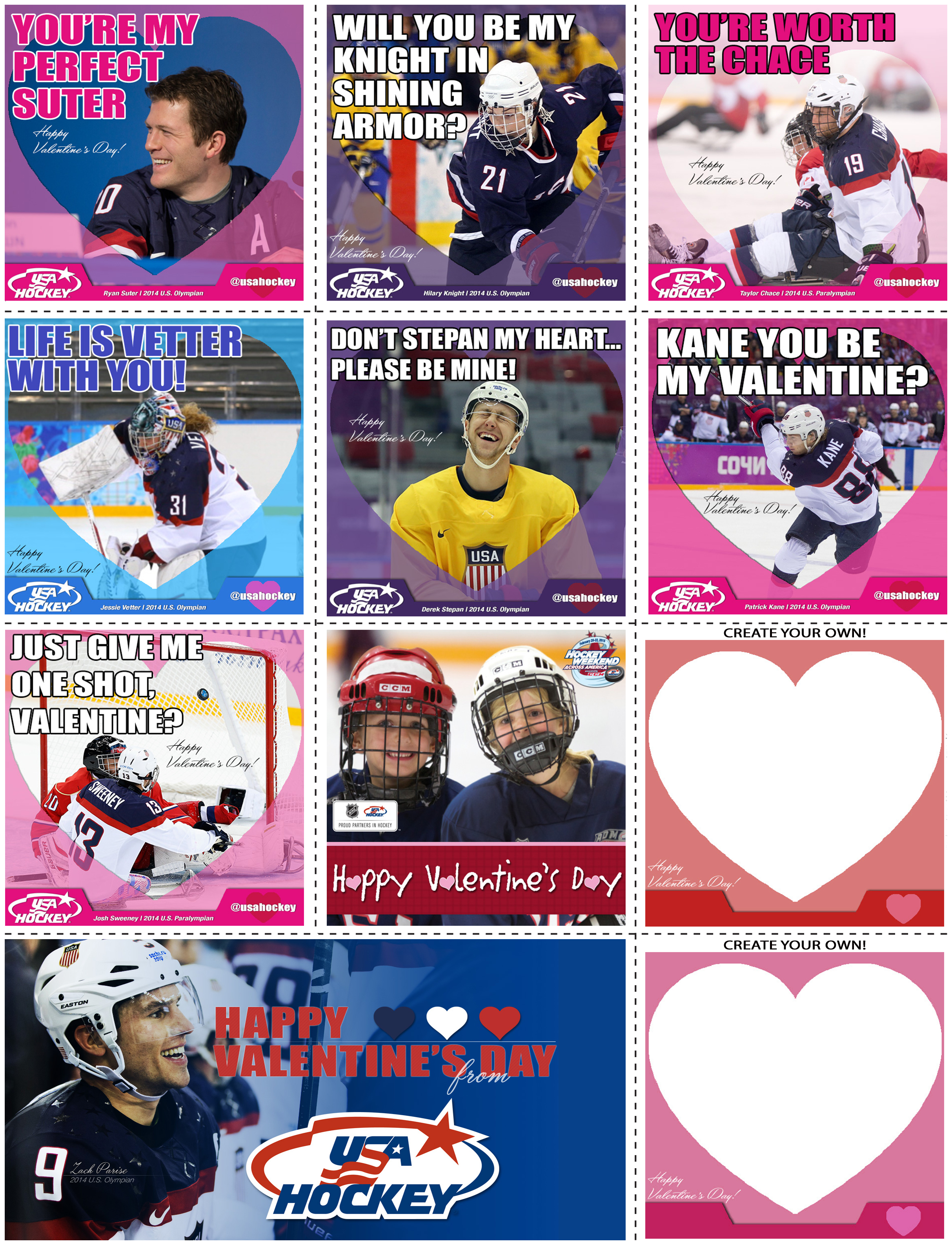Be My Valentine Share Valentines from USA Hockey – Hockey Valentines Day Cards