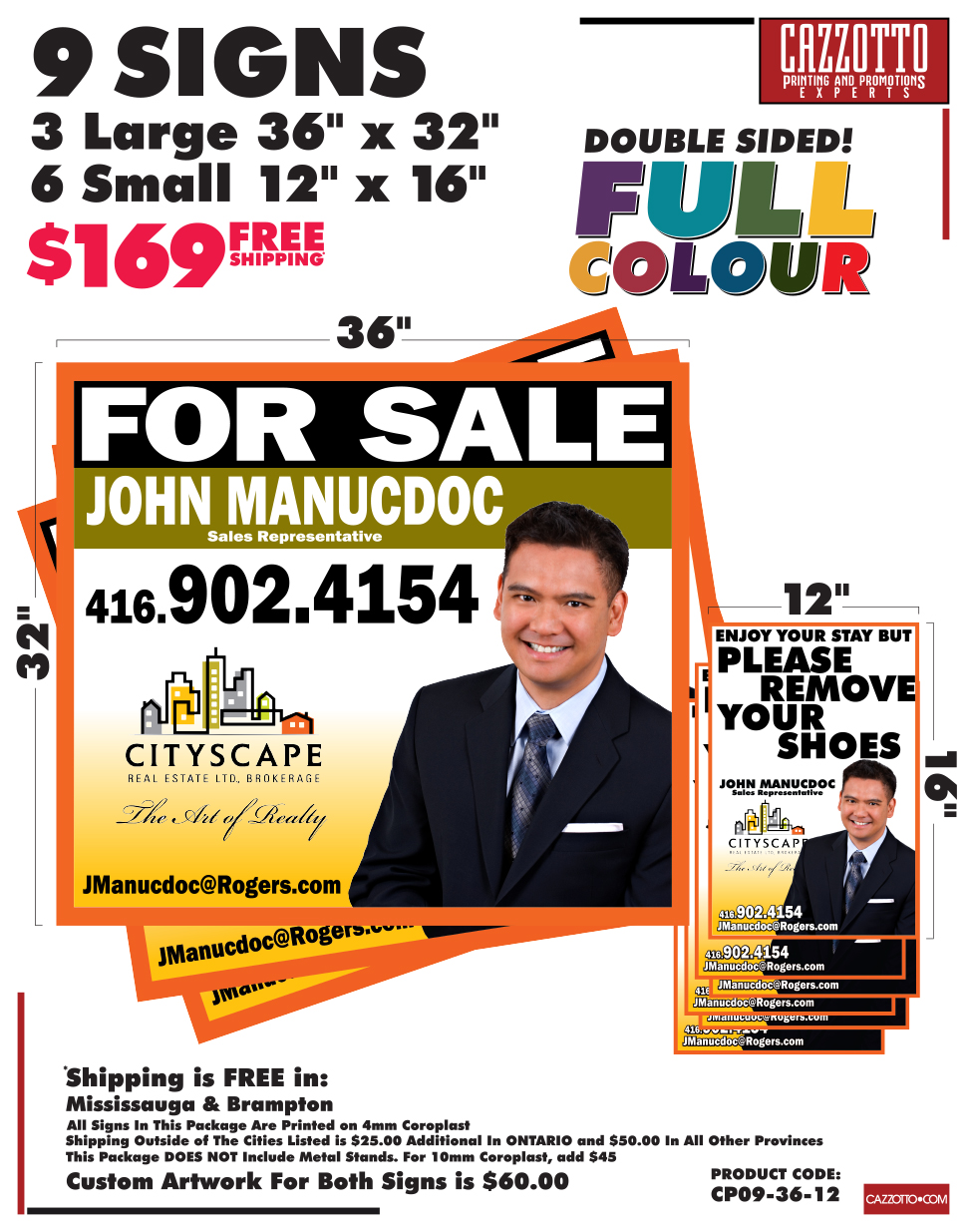 Real Estate Sign Printing In Mississauga - Custom Full Colour Real Estate Sign Printing at Cazzotto.com