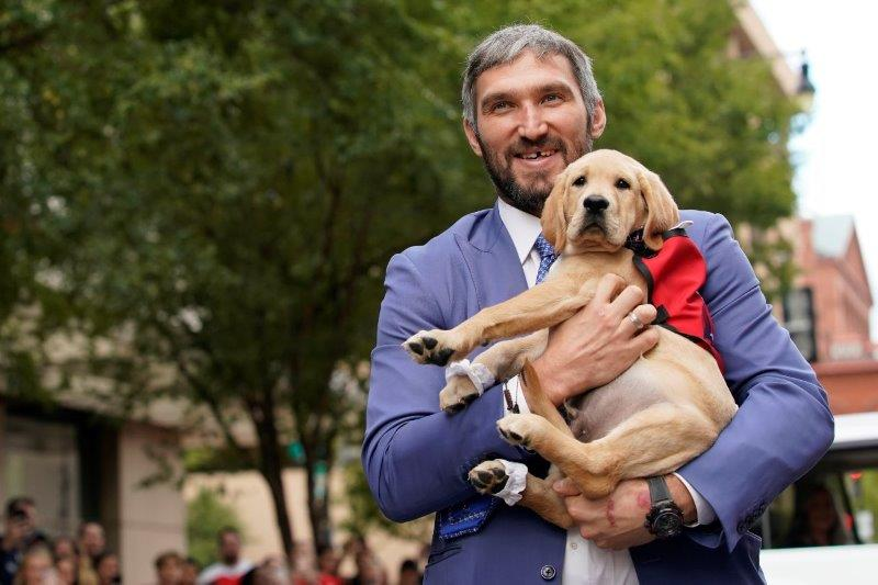 Captain makes his public debut with Alex Ovechkin at the Washington Capitals' annual Rock the Red Carpet event last October. Photo courtesy of the Washington Capitals