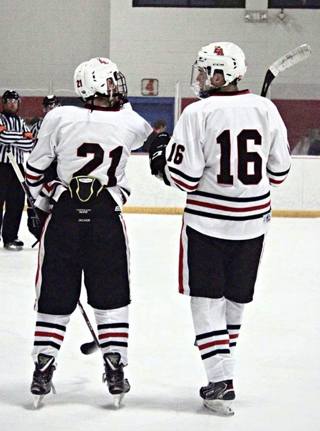 Wyatt Cirbo (No. 21) and John Larchenko (No. 16) finished No. 2 and No. 1, respectively, in points tallied in the 2019-20 CSHAA season. All photos courtesy of John Larchenko and Denver East Hockey