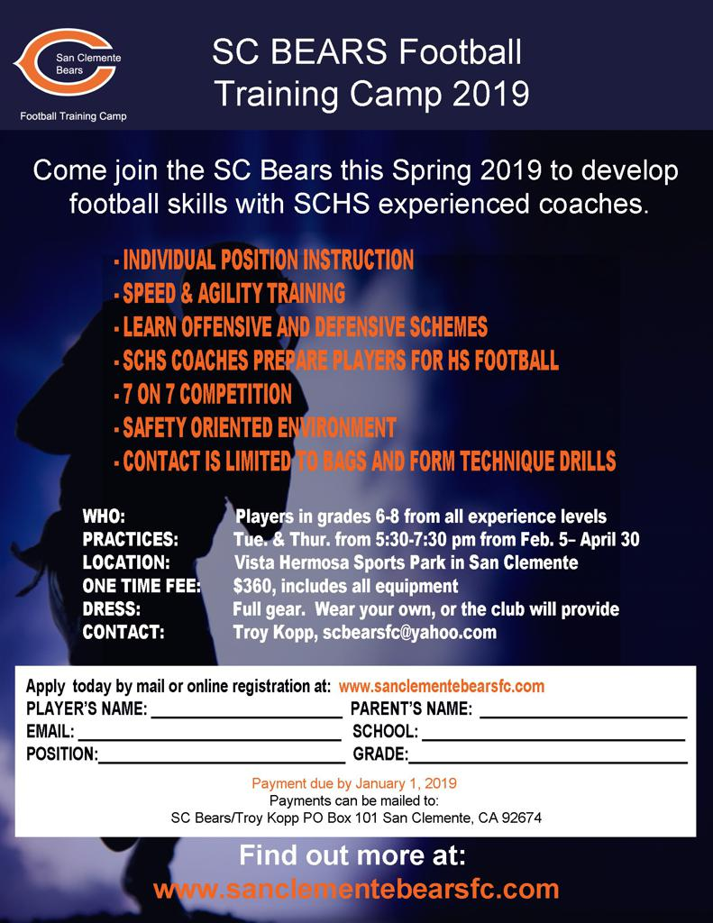 SC Bears Football Training Camp