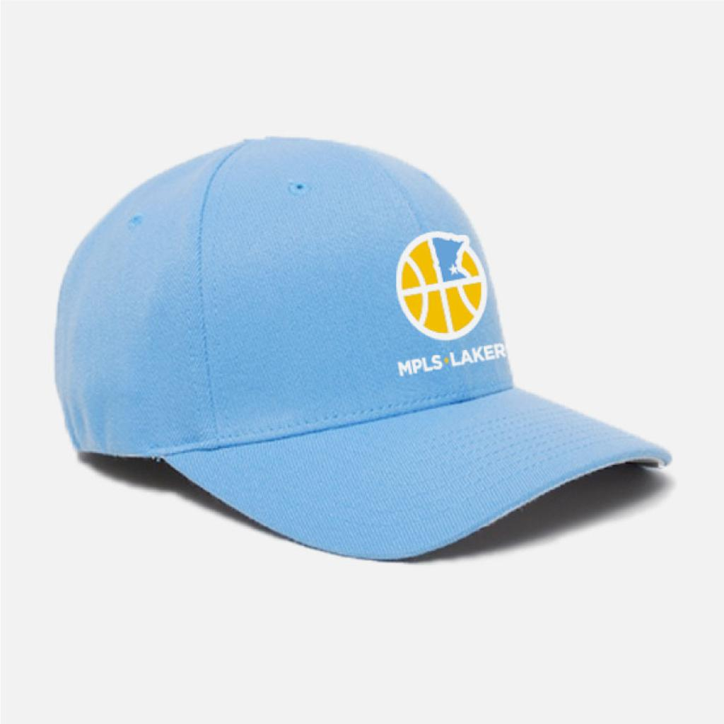 Blue baseball hat with embroidered logo