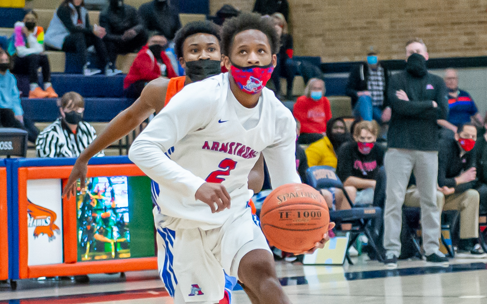 The Falcons' D'Sean Larkins put up 20 points Friday night in the Class 4A, Section 6 semifinal. The Falcons fell to the Hawks 84-57 at Robbinsdale Cooper High School. Photo by Earl J. Ebensteiner, SportsEngine