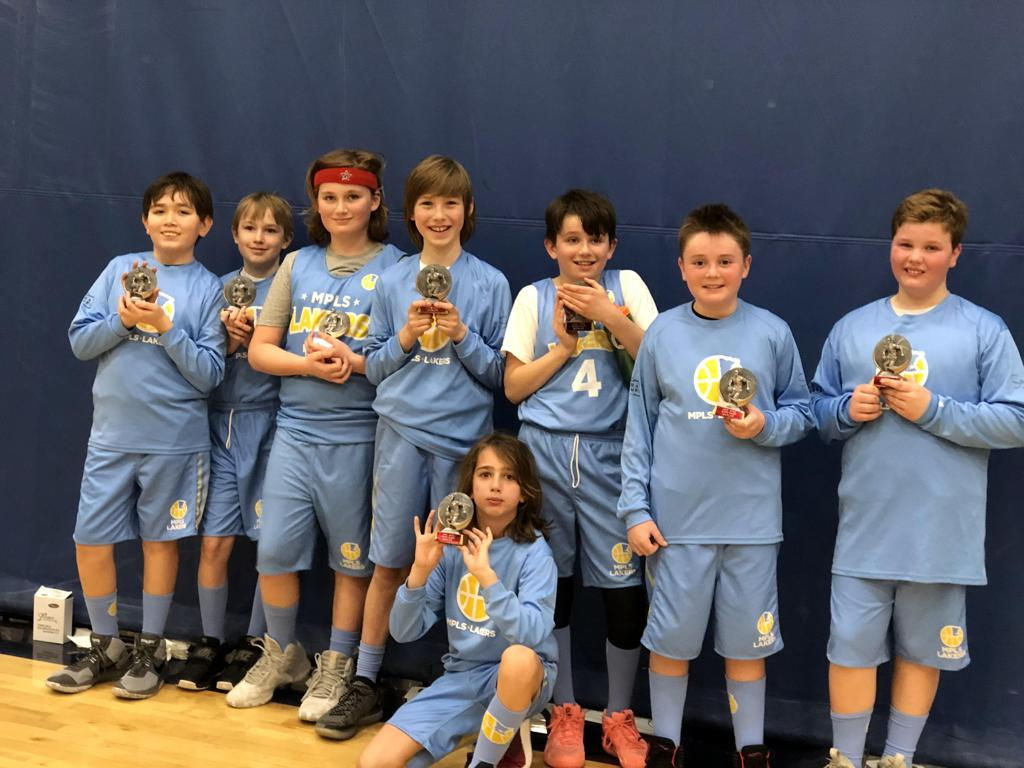 Minneapolis Lakers 5th Grade Black pose with their hardware after taking 2nd Place at MYAS Supersaver-Bloomington in Bloomington, MN