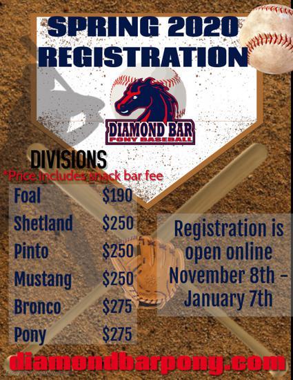 Mt Sac Spring 2020 Registration.Diamond Bar Pony Baseball