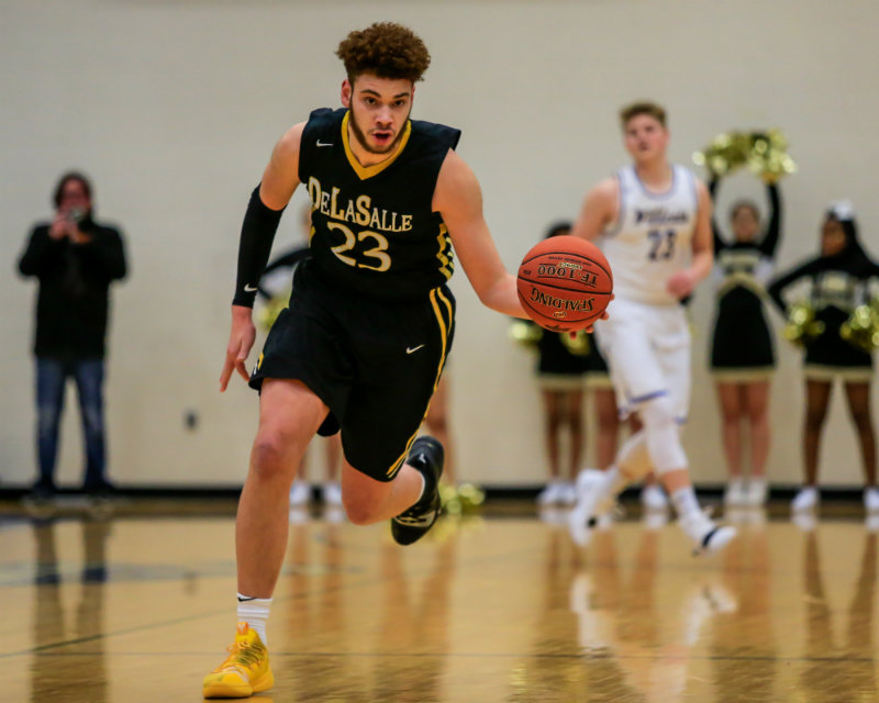 Jamison Battle (pictured) is one of three DeLaSalle players who made the Class 3A all-tourney team. The Islanders defeated Waseca 63-56 to win their seventh state championship in eight years. Photo by Mark Hvidsten, SportsEngine