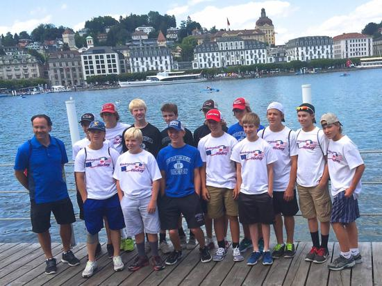 Team in Lucerne, Switzerland before game