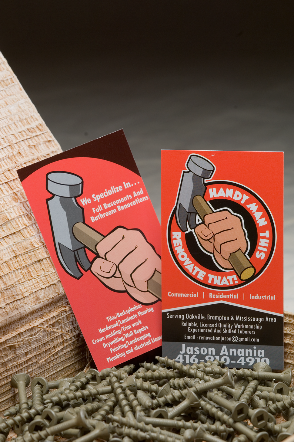 Mississauga Business Card Design by Kevin J. Johnston - Handyman This Renovate That