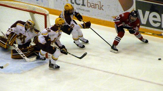 St. Cloud State swept the Gophers over the weekend, winning 3-2 and 7-4. Credit: SCSU Athletic Media Relations.