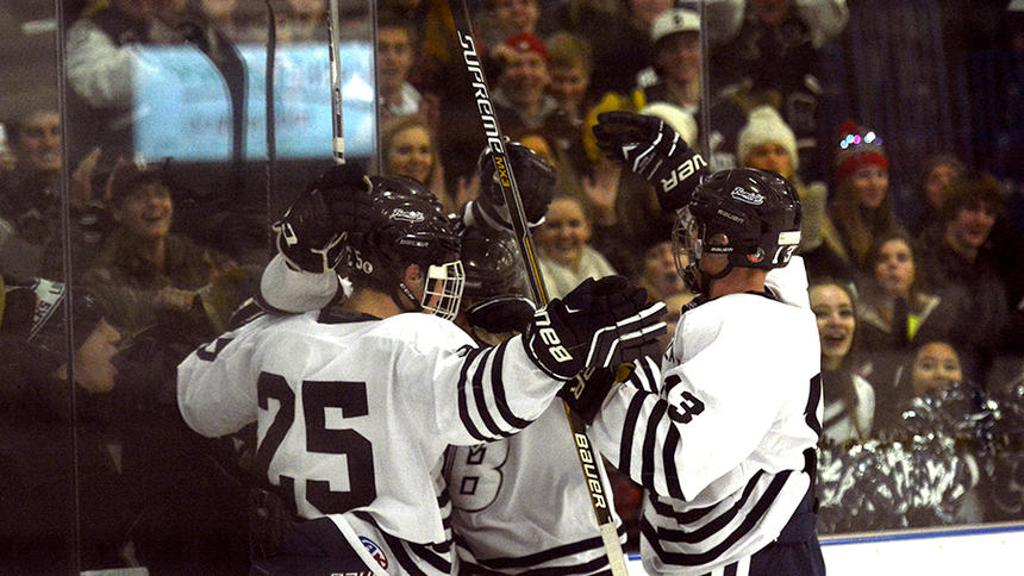 The Lumberjacks celebrate a goal in the third period during a game against Moorhead Tuesday in Bemidji. BHS beat the Spuds 5-0 to improve to 2-0-1. Maggi Stivers | Bemidji Pioneer
