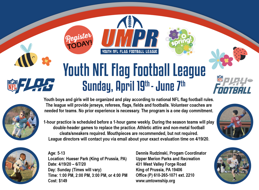 YOUTH NFL FLAG FOOTBALL SPRING 2020 LEAGUE INFORMATION