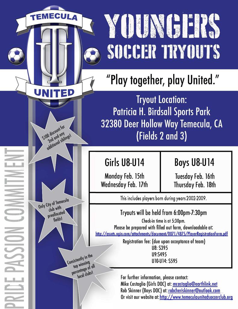 Temecula United U14 Tryout Info