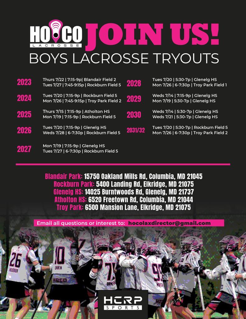 HOCO Tryouts- Please review the updated locations.  Additionally, use the links below to register using the links below....