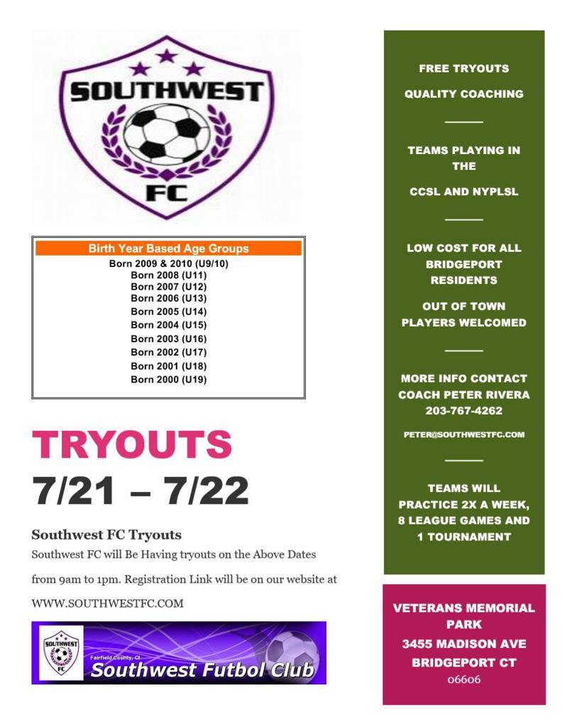 SOUTHWEST FC TRYOUTS ALL AGES
