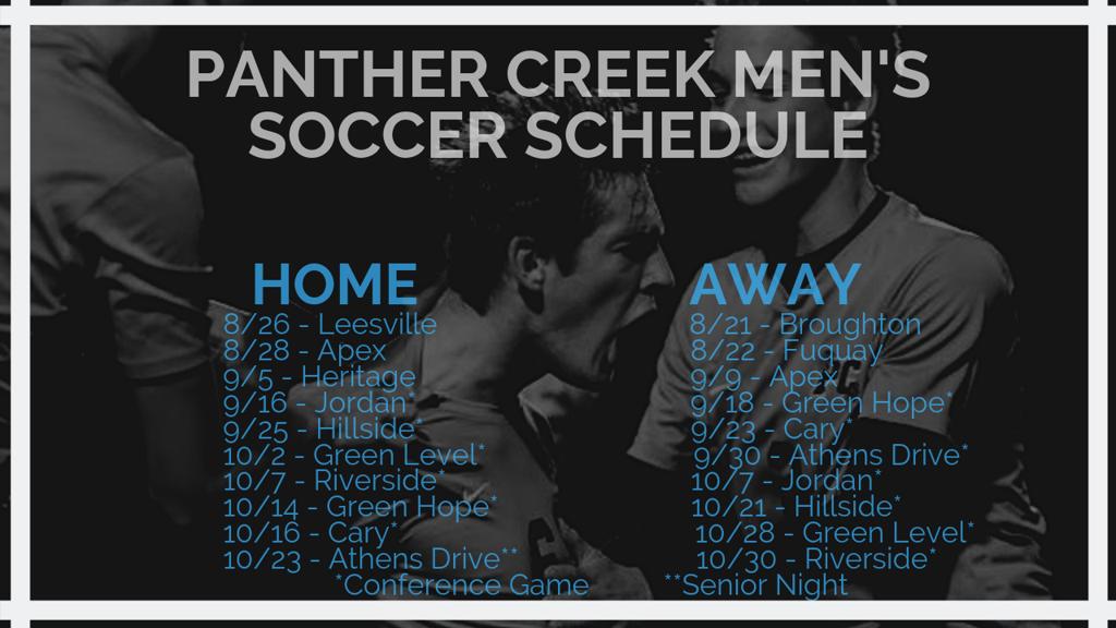 2019 Panther Creek Men's Soccer Schedule
