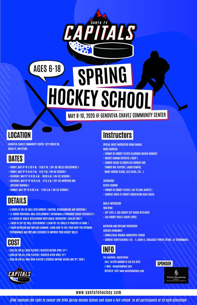 image file with information about spring hockey school