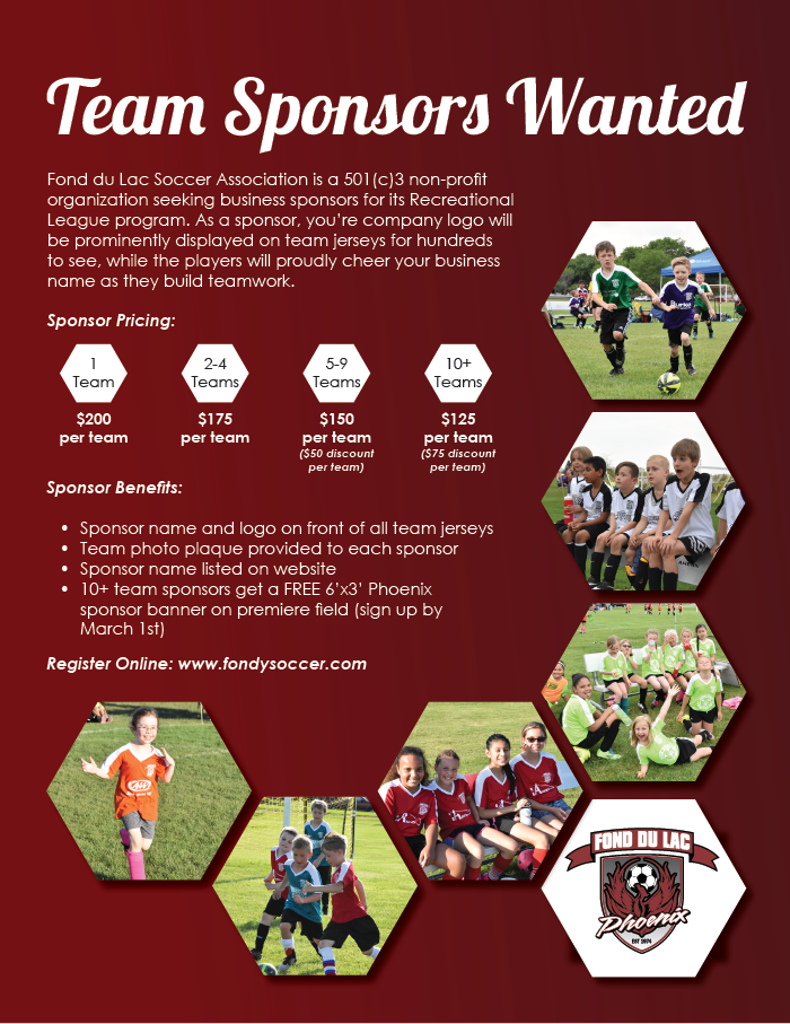 Fond du Lac Soccer Rec Team Sponsorship