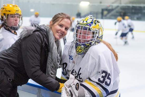 Ronda Engelhardt with goaltender Jenna Brenneman. Credit: Karyl Rice for Breck School.
