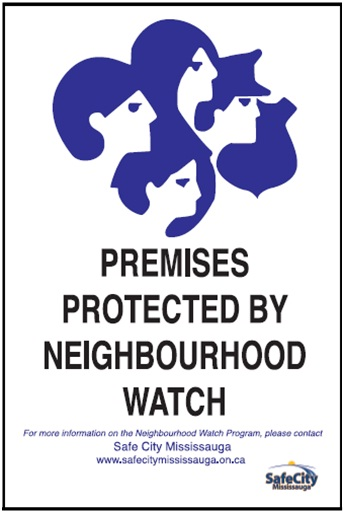 Mississauga Neighbourhood Watch Sign with John Kovac and Bonnie Crombie