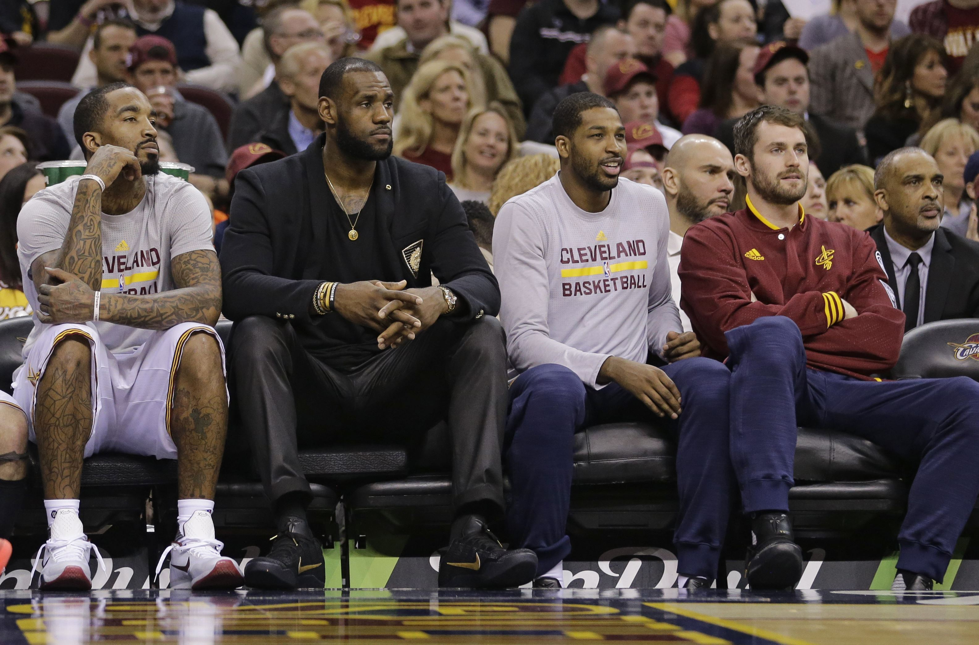 Image result for Kyrie Irving, J.R. Smith, LeBron James, Tristan Thompson, and Kevin Love