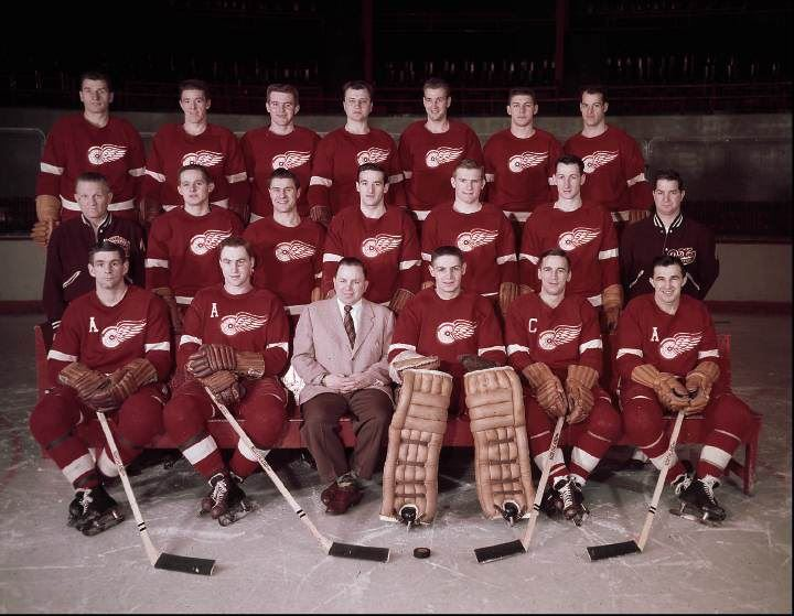 the detroit red wings team are shown seen in this 1955 file photo with gordie howe in the back row on the right front row left to right bob goldham