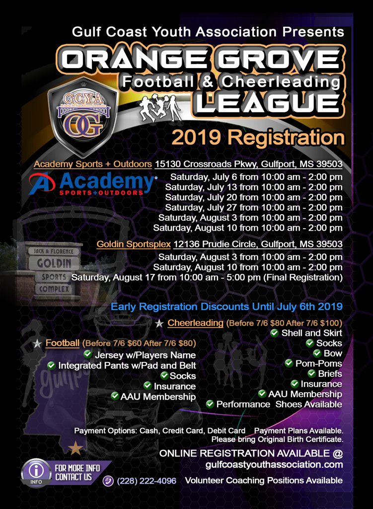 2019 GCYA ORANGE GROVE FOOTBALL AND CHEERLEADING LEAGUE REGISTRATION INFORMATION